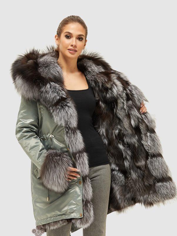 Parka med fuld pels