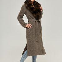 grå vinterjakke kort mørk pels