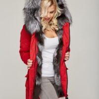 Rød dame parka med ægte sølvræv pels