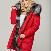 Rød dame parka med ægte sølvræv pels 1